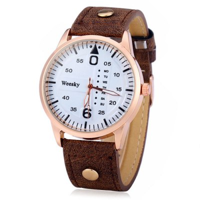 Гаджет   Weesky 1203G Decorative Day Male Quartz Watch with Leather Strap Men