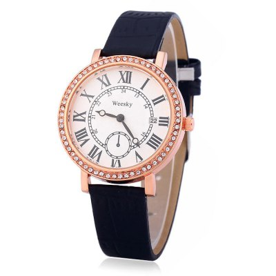 Weesky 1212G Female Diamond Quartz Watch with Date Display Golden Case