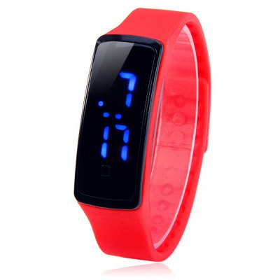 HZ5 Blue Digital Date Display LED Sports Watch with Rubber Band