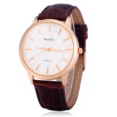 Гаджет   Weesky Grid Face Male Quartz Watch with Leather Strap Men