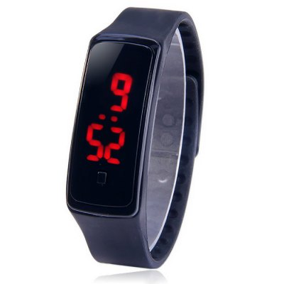 HZ5 Red Digital LED Sports Watch Date Function Rubber Band Wristwatch