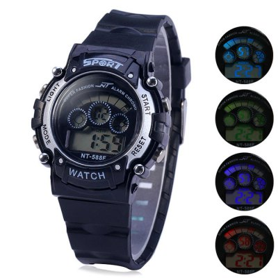 NT NT - 588F Flash Lights Kid LED Sports Watch with Rubber BandSports Watches<br>NT NT - 588F Flash Lights Kid LED Sports Watch with Rubber Band<br><br>Brand: NT<br>People: Children watch<br>Watch style: Outdoor Sports, LED, Fashion&amp;Casual<br>Available color: Blue, Silver, Red, Yellow<br>Shape of the dial: Round<br>Movement type: Digital watch<br>Display type: Digital<br>Case material: PC<br>Band material: Rubber<br>Clasp type: Pin buckle<br>Special features: Stopwatch, Day, Date, Alarm clock<br>The dial thickness: 1.4 cm / 0.55 inches<br>The dial diameter: 3.7 cm / 1.45 inches<br>The band width: 1.6 cm / 0.63 inches<br>Wearable Length:: 15 - 22 cm / 5.91 - 8.66 inches<br>Product weight: 0.025 kg<br>Package weight: 0.075 kg<br>Product size (L x W x H) : 22.2 x 3.7 x 1.4 cm / 8.72 x 1.45 x 0.55 inches<br>Package size (L x W x H): 23.2 x 4.7 x 2.4 cm / 9.12 x 1.85 x 0.94 inches<br>Package contents: 1 x NT NT-588F LED Watch