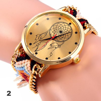 Woven Woolen Female Quartz Watch Pull Cord BraceletWomens Watches<br>Woven Woolen Female Quartz Watch Pull Cord Bracelet<br><br>Watches categories: Female table<br>Style: Retro, Fashion&amp;Casual<br>Movement type: Quartz watch<br>Shape of the dial: Round<br>Display type: Analog<br>Case material: Stainless steel<br>Band material: Woolen<br>The dial thickness: 1.0 cm / 0.39 inches<br>The dial diameter: 4.0 cm / 1.57 inches<br>Wearable length: 14 - 28 cm / 5.91 - 11.0 inches<br>Product weight: 0.028 kg<br>Package weight: 0.078 kg<br>Product size (L x W x H) : 30 x 4 x 1 cm / 11.79 x 1.57 x 0.39 inches<br>Package size (L x W x H): 8 x 5 x 2 cm / 3.14 x 1.97 x 0.79 inches<br>Package contents: 1 x Woven Woolen Watch