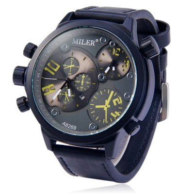 Miler A8269 Dual Movt Men Quartz Watch with Date Function Leather BandMens Watches<br>Miler A8269 Dual Movt Men Quartz Watch with Date Function Leather Band<br><br>Brand: Miler<br>Watches categories: Male table<br>Watch style: Fashion<br>Available color: Gray, Orange, White, Black<br>Movement type: Quartz watch<br>Shape of the dial: Round<br>Display type: Analog<br>Case material: Stainless steel<br>Band material: Leather<br>Clasp type: Pin buckle<br>Special features: Date, Decorating small sub-dials<br>The dial thickness: 1.4 cm / 0.55 inches<br>The dial diameter: 5.7 cm / 2.24 inches<br>The band width: 2.4 cm / 0.95 inches<br>Wearable Length:: 21 - 25 cm / 8.27 - 9.84 inches<br>Product weight: 0.086 kg<br>Package weight: 0.136 kg<br>Product size (L x W x H): 27.2 x 5.7 x 1.4 cm / 10.69 x 2.24 x 0.55 inches<br>Package size (L x W x H): 28.2 x 6.7 x 2.4 cm / 11.08 x 2.63 x 0.94 inches<br>Package Contents: 1 x Miler A8267 Watch