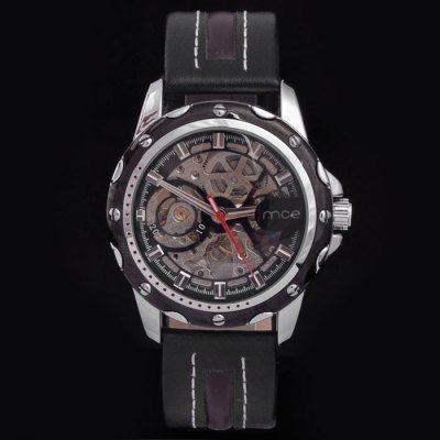 ФОТО Mce Leather Band Hollow-out Automatic Mechanical Male Watch