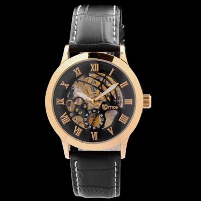ФОТО Mce Men IP Plating Hollow-out Automatic Mechanical Watch with Leather Band