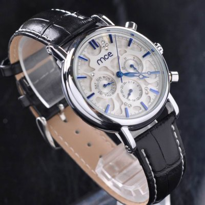 ФОТО Mce Hollow-out Automatic Mechanical Male Watch with IP Plating Case Leather Band