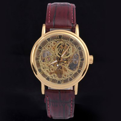 ФОТО Mce Male IP Plating Automatic Mechanical Watch with Leather Band