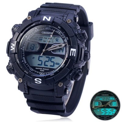 OHSEN AD1315 Water Resistant Dual Movt LED Sports WatchSports Watches<br>OHSEN AD1315 Water Resistant Dual Movt LED Sports Watch<br><br>Brand: OHSEN<br>People: Unisex table<br>Watch style: Outdoor Sports, LED, Fashion&amp;Casual, Military<br>Available color: Black, White, Red, Gold<br>Shape of the dial: Round<br>Movement type: Double-movtz<br>Display type: Analog-Digital<br>Hour formats: 12/24 Hour<br>Case material: PC<br>Band material: Rubber<br>Clasp type: Pin buckle<br>Special features: Stopwatch, Day, Date, Alarm clock<br>Water Resistance: 30 meters<br>The dial thickness: 1.5 cm / 0.59 inches<br>The dial diameter: 5.5 cm / 2.16 inches<br>The band width: 2.2 cm / 0.87 inches<br>Wearable Length:: 18 - 25 cm / 7.09 - 9.84 inches<br>Product weight: 0.060 kg<br>Package weight: 0.11 kg<br>Product size (L x W x H) : 27 x 5.5 x 1.5 cm / 10.61 x 2.16 x 0.59 inches<br>Package size (L x W x H): 28 x 6.5 x 2.5 cm / 11.00 x 2.55 x 0.98 inches<br>Package contents: 1 x OHSEN AD1315 LED Watch, 1 x English and Chinese Manual