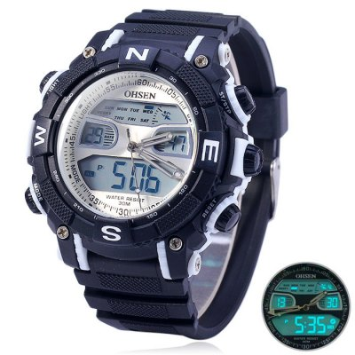 Гаджет   OHSEN AD1315 Water Resistant Dual Movt LED Sports Watch