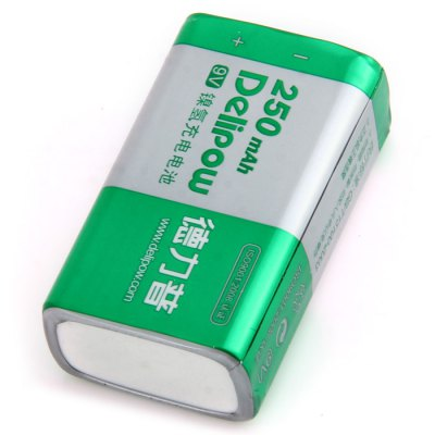 Delipow 9V 250mAh Ni-MH Rechargeable Battery