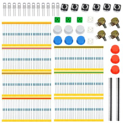 KT0046 Universal Carbon Resisters + Rotary Potentiometers Parts Set for Arduino