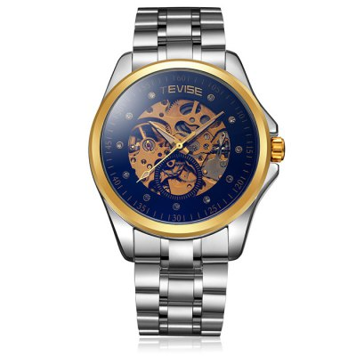 Tevise Diamond Male Automatic Mechanical Watch with Stainless Steel BandTevise Diamond Male Automatic Mechanical Watch with Stainless Steel Band<br><br>Brand: Tevise<br>Watches categories: Male table<br>Watch style: Business<br>Style elements: Hollow out<br>Available color: Gold, Blue, Blue and White, White<br>Movement type: Automatic mechanical watch<br>Shape of the dial: Round<br>Display type: Analog<br>Case material: Stainless steel<br>Band material: Stainless steel<br>Clasp type: Folding clasp with safety<br>Special features: Decorating small sub-dials<br>The dial thickness: 1.6 cm / 0.63 inches<br>The dial diameter: 4.8 cm / 1.89 inches<br>Product weight: 0.142 kg<br>Package weight: 0.192 kg<br>Product size (L x W x H): 19.5 x 4.8 x 1.6 cm / 7.66 x 1.89 x 0.63 inches<br>Package size (L x W x H): 20.5 x 5.8 x 2.6 cm / 8.06 x 2.28 x 1.02 inches<br>Package Contents: 1 x Tevise Watch
