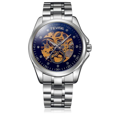ФОТО Tevise Diamond Male Automatic Mechanical Watch with Stainless Steel Band