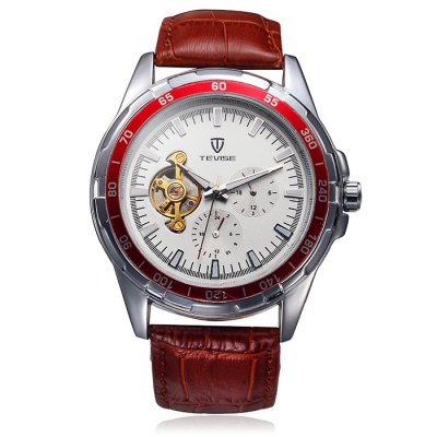 ФОТО Tevise Men Automatic Mechanical Watch with Tourbillon Design Leather Band