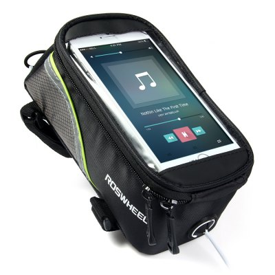 Roswheel 4.2 inch Touch Screen Bicycle Saddle Phone Bag Holder Handlebar Pouch with Earphone HoleCycling<br>Roswheel 4.2 inch Touch Screen Bicycle Saddle Phone Bag Holder Handlebar Pouch with Earphone Hole<br><br>Type: Saddle Bag<br>For: Cycling<br>Material: Polyester, PVC<br>Color: Red, Blue, Green<br>Product weight   : 0.164 kg<br>Package weight   : 0.200 kg<br>Package size (L x W x H)  : 22 x 12 x 12 cm / 8.65 x 4.72 x 4.72 inches<br>Package Contents: 1 x Roswheel Bike Phone Saddle Bag, 1 x Audio Cable