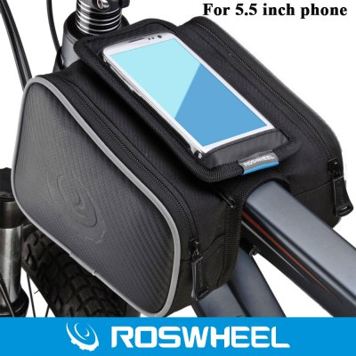 Roswheel 5.5 inch Shockproof Mountain Bike Front Frame Phone Bag with Dual Pouch