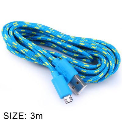 Fabric Braided Round Micro USB to USB Data Charging Cable 3 Meters