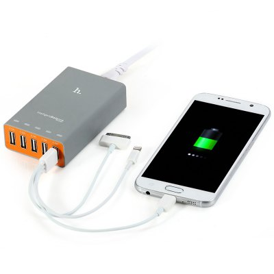 Hoco UH502 Intelligent Balance 5 Output USB Charger for iPhone 6 Plus 6 iPad Samsung HTC HUAWEI Android - US PlugSmart Home<br>Hoco UH502 Intelligent Balance 5 Output USB Charger for iPhone 6 Plus 6 iPad Samsung HTC HUAWEI Android - US Plug<br><br>Brand: HOCO<br>Model: Hoco UH502<br>Design: Professional<br>Feature: Portable<br>Interface: USB2.0<br>Optional Color: Gray<br>Product Weight: 0.162 kg<br>Package Weight: 0.323 kg<br>Product Size (L x W x H): 9.8 x 6 x 2.6 cm / 3.85 x 2.36 x 1.02 inches<br>Package Size (L x W x H): 16 x 16 x 6 cm / 6.29 x 6.29 x 2.36 inches<br>Package Contents: 1 x Hoco UH502 Five USB Travel Charger 5A Fast Charging Intelligent Balance for iPhone iPad iPod, 1 x 1.5m Power Cable