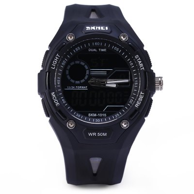 Skmei 1015 Sports LED Watch Double Movt 50M Water Resistant Alarm Date Day Display Army WristwatchSports Watches<br>Skmei 1015 Sports LED Watch Double Movt 50M Water Resistant Alarm Date Day Display Army Wristwatch<br><br>Brand: Skmei<br>People: Unisex table<br>Watch style: LED, Fashion&amp;Casual, Military, Outdoor Sports<br>Available color: Black, Blue, Orange<br>Shape of the dial: Round<br>Movement type: Double-movtz<br>Display type: Analog-Digital<br>Case material: PC<br>Band material: Rubber<br>Clasp type: Pin buckle<br>Special features: Date, Stopwatch, EL Back-light, Day<br>Water Resistance: 50 meters<br>The dial thickness: 1.5 cm / 0.6 inches<br>The dial diameter: 5.0 cm / 2.0 inches<br>The band width: 2.2 cm / 0.9 inches<br>Product weight: 0.05 kg<br>Package weight: 0.06 kg<br>Product size (L x W x H) : 26.2 x 5.0 x 1.5 cm / 10.3 x 2.0 x 0.6 inches<br>Package size (L x W x H): 28 x 6 x 2.5 cm<br>Package contents: 1 x Watch