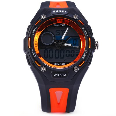 Skmei 1015 Sports LED Watch Double Movt 50M Water Resistant Alarm Date Day Display Army Wristwatch skmei 1064 solar power army led watch date day alarm dual movt water resistant military wristwatch for sports