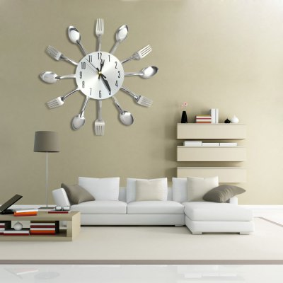 Stainless Steel Knife Fork Wall Clock