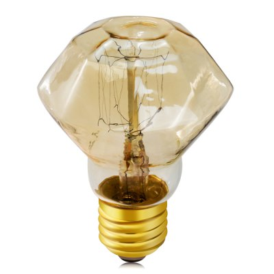E27 40W 600LM Edison Diamond Tungsten Filament Bulb Light Lamp - 2300 - 2700K 220VLED Light Bulbs<br>E27 40W 600LM Edison Diamond Tungsten Filament Bulb Light Lamp - 2300 - 2700K 220V<br><br>Base Type: E27<br>Type: Ball Bulbs<br>Output Power: 40W<br>Actual Lumen(s): 600Lm<br>Wavelength/Color Temperature: 2300-2700K<br>Voltage (V): AC 220<br>Appearance: Diamond shape<br>Features: Retro Edison Style<br>Function: Studio and Exhibition Lighting, Home Lighting, Commercial Lighting<br>Available Light Color: Warm White<br>Sheathing Material: Glass<br>Product Weight: 0.035 kg<br>Package Weight: 0.09 kg<br>Product Size (L x W x H): 9.2 x 6.4 x 6.4 cm / 3.62 x 2.52 x 2.52 inches<br>Package Size (L x W x H): 10.2 x 7.5 x 7.5 cm / 4.01 x 2.95 x 2.95 inches<br>Package Contents: 1 x Tungsten Filament Bulb