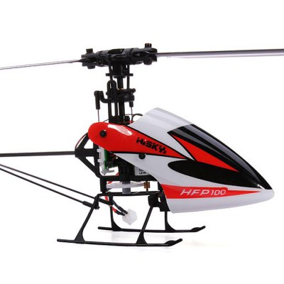 HISKY HFP100 FBL90 2.4GHz 4CH 3 Axis Gyro RC Flybarless RTF HelicopterRC Helicopters<br>HISKY HFP100 FBL90 2.4GHz 4CH 3 Axis Gyro RC Flybarless RTF Helicopter<br><br>Functions: Turn left/right, Forward/backward, Sideward flight, Up/down<br>Built-in Gyro: Yes<br>Remote Control: 2.4GHz Wireless Remote Control<br>Channel: 4-Channels<br>Control Distance: &gt;100m<br>Transmitter Power: 4 x 1.5V AA battery (not included)<br>Helicopter Power: Built-in rechargeable battery<br>Battery Capacity: 3.7V 300mAh<br>Charging time: 35~40mins<br>Flying time: 5~6mins<br>Package Weight   : 1.14 kg<br>Product Size (L x W x H)  : 23.8 x 9.37 x 5 cm / 9.35 x 3.68 x 1.97 inches<br>Package Size (L x W x H)  : 27 x 10 x 7.2 cm / 10.61 x 3.93 x 2.83 inches<br>Package Contents: 1 x HISKY HFP100 RC Helicopter, 1 x H - 4Q Transmitter, 1 x USB Charger, 1 x Main Blade, 1 x Tail Motor, 1 x Wearing Parts, 1 x 3.7V 300mAh 15C Battery, 1 x English / Chinese Manual