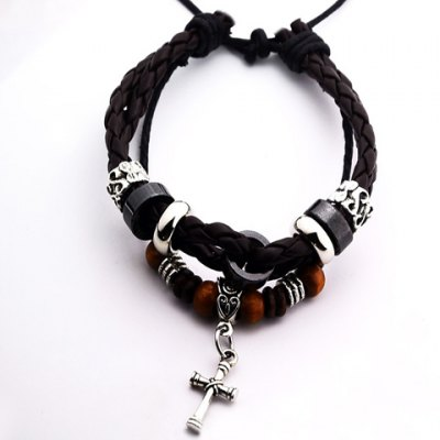 Stylish Punk Weaved Cross Pendant Bracelet For Men