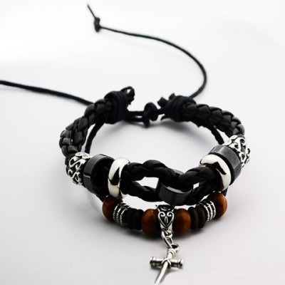 Punk Weaved Cross Pendant Bracelet For Men