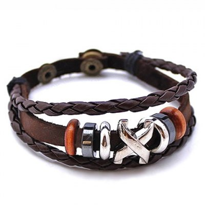 Casual Faux Leather Beads Bracelet For Men