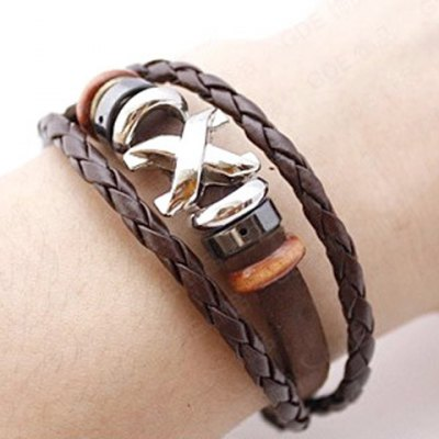 Stylish Casual Faux Leather Beads Bracelet For Men