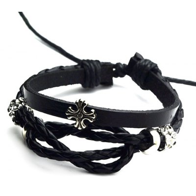 Faux Leather Cross Layered Bracelet