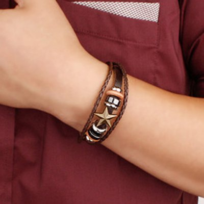 Characteristic Faux Leather Star Layered Beads Bracelet