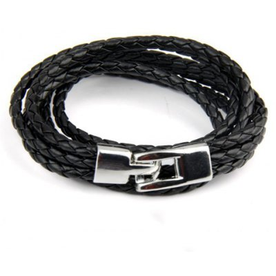 Classic Faux Leather Layered Men's Bracelet