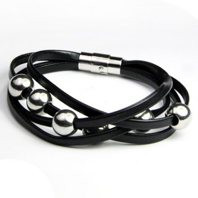 Delicate Layered Beads Faux Leather Bracelet