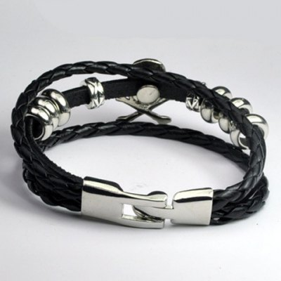Stylish Faux Leather Skull Bracelet For Men