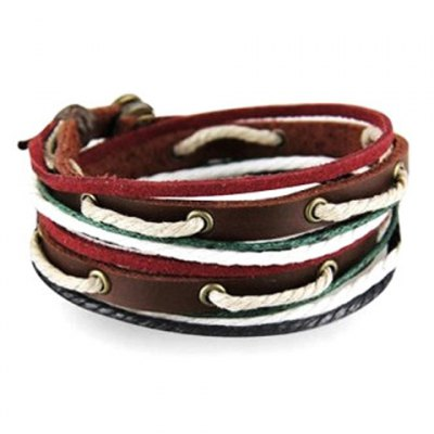 Casual Faux Leather Pierced Rope Bracelet For Men