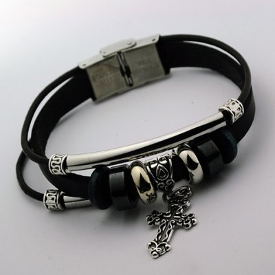 Characteristic Faux Leather Cross Layered Mens BraceletBracelets &amp; Bangles<br>Characteristic Faux Leather Cross Layered Mens Bracelet<br><br>Item Type: Charm Bracelet<br>Gender: For Men<br>Chain Type: Leather Chain<br>Style: Trendy<br>Shape/Pattern: Cross<br>Weight: 0.08KG<br>Package Contents: 1 x Bracelet