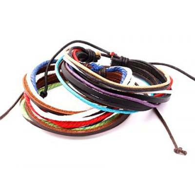 ONE PIECE Characteristic Layered Faux Leather Men's Bracelet