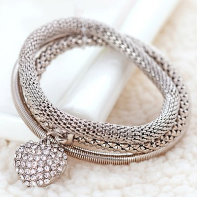Cute Heart Pendant Rhinestone Layered Bracelet For Women