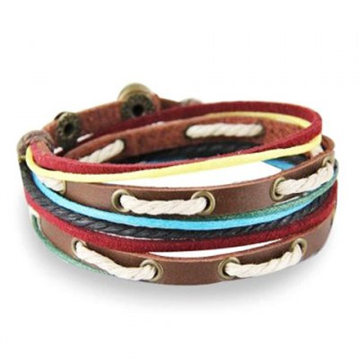 Smart Faux Leather Rope Bracelet For Men