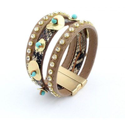 Delicate Rhinestone Layered Magnet Clasp Statement Bracelet