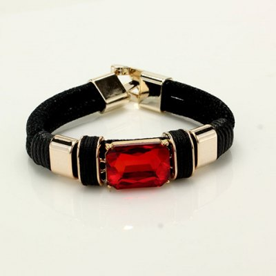 Ethnic Faux Gem Leather Chain Bracelet