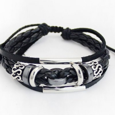 Characteristic Faux Leather Layered Letter Men's Bracelet