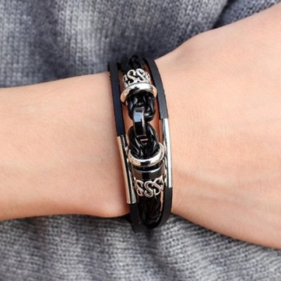 Characteristic Faux Leather Layered Letter Bracelet