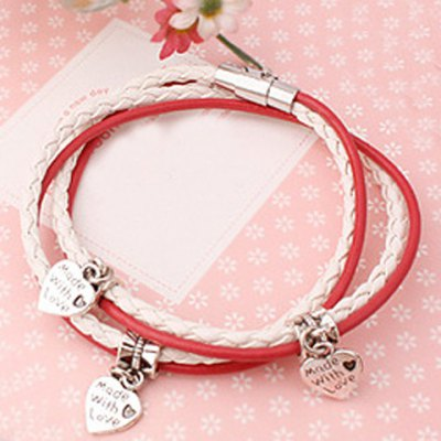 Delicate Heart Layered Womens BraceletBracelets &amp; Bangles<br>Delicate Heart Layered Womens Bracelet<br><br>Item Type: Charm Bracelet<br>Gender: For Women<br>Chain Type: Leather Chain<br>Style: Trendy<br>Shape/Pattern: Heart<br>Weight: 0.07KG<br>Package Contents: 1 x Bracelet