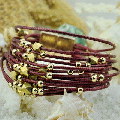 Cute Ethnic Gold Beads Layered Bracelet For Women