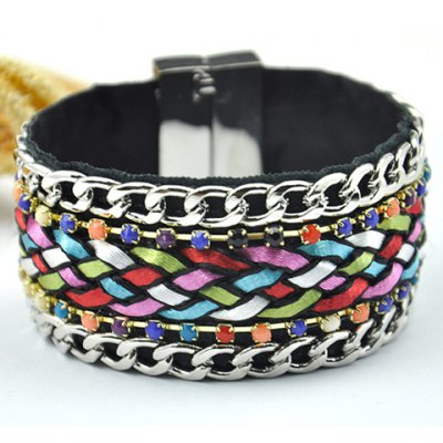 Bohemian Rhinestone Knitted Magnet Clasp Colored Bracelet For Women
