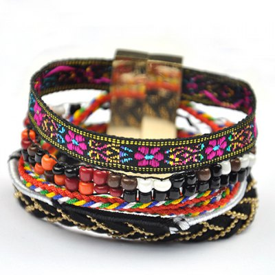 Trendy Beads Layered Flower Print Magnet Clasp Women's Bracelet